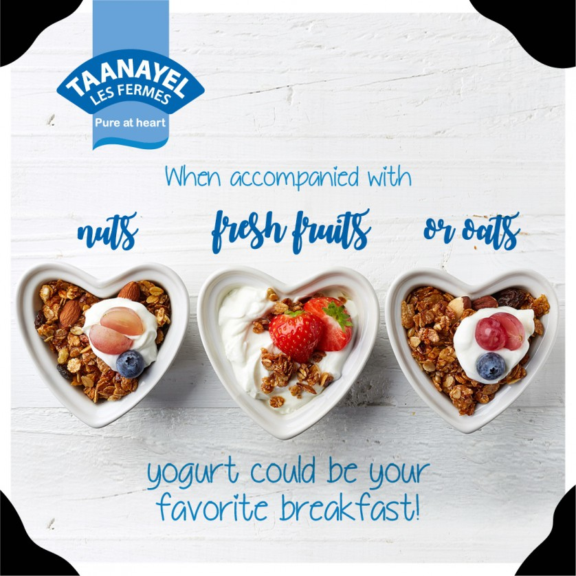 Yogurt with nuts, fresh fruits or oats